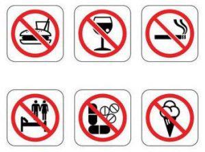 Die Piktogrammde zeigen, was während des Ramadan nicht erlaubt ist.
